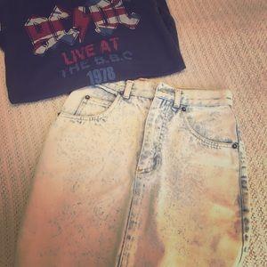 ⚡️Vintage Jordache ⚡️80's Acid Wash Jean Skirt